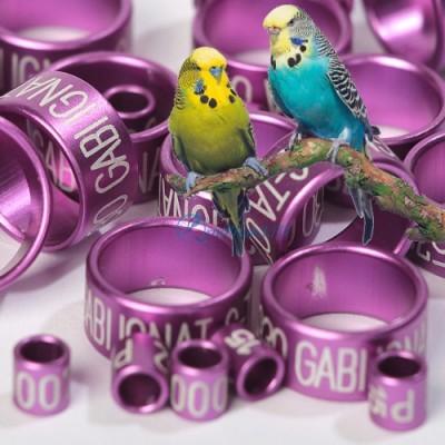 КОЛЬЦО для канареек, попугаев - АЛЮМИНИЙ с лазерной гравировкой, цвет ФИОЛЕТОВЫЙ
