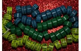 """Именные(персональные) кольца для голубей. Пластик с лазерной гравировкой, модель """"цилиндр""""."""